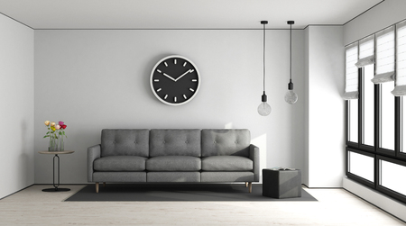 Minimalist living room with white wall and gray sofa - 3d rendering Standard-Bild