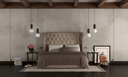 Classic master bedroom with elegant double bed , retro objects and modern lamp 3d rendering