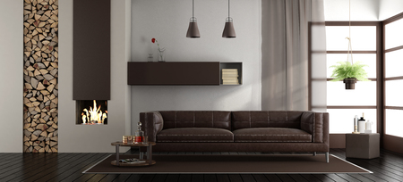 Modern living room with fireplace and brown leather sofa - 3d rendering