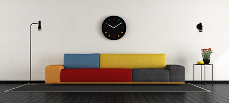 Minimalist living room with colorful sofa - 3d rendering