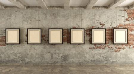 Grunge art gallery with frames hanging with ropes - 3d rendering Standard-Bild