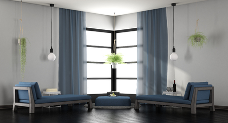 Modern white and blue living room with two chaise lounges - 3d rendering Standard-Bild