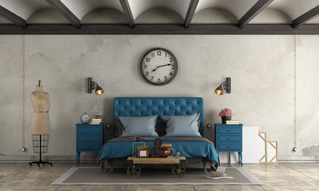 Bedroom in industrial style with blue double bed and retro objects - 3d rendering Standard-Bild