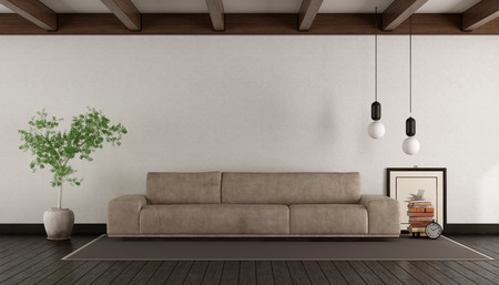 Living room with leather sofa on withe wall - 3d rendering