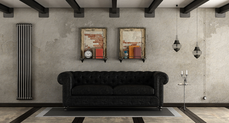 Retro living room with black leather sofa - 3d rendering
