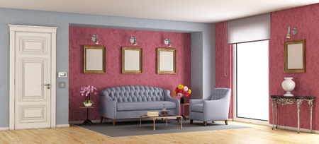 Classic living room with purple sofa and armchair - 3d rendering