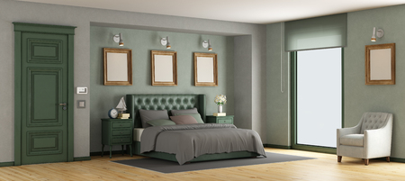 Green classic master bedroom with leather double bed - 3d rendering