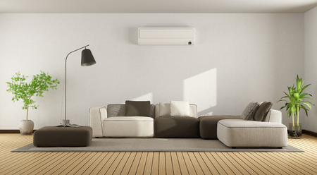 Merveilleux Minimalist Living Room With Sofa And Air Conditioner   3d Rendering Stock  Photo   91456690