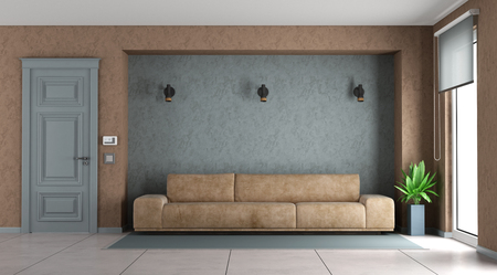 Blue and brown living room with leather sofa - 3d rendering