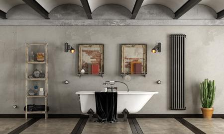 Bathroom in industrial style with classic bathtub - 3d rendering Standard-Bild