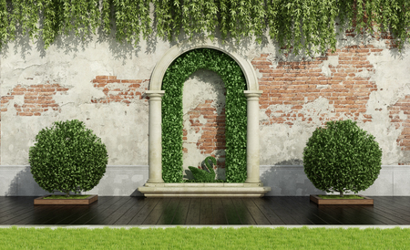 Garden with lush vegetation, stone portal and old wall - 3d rendering