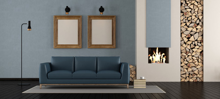 Modern living room with fireplace with blue leather sofa - 3d rendering Standard-Bild