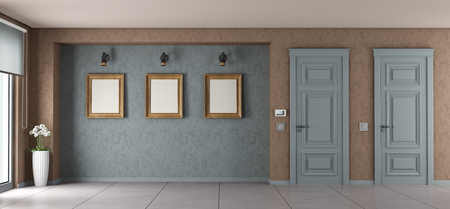 Empty living room with closed doors and frame on wall - 3d rendering Standard-Bild