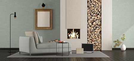 Modern living room with fireplace with chaise lounge - 3d rendering