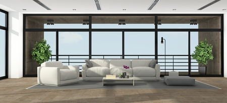 Large minimalist living room of an holiday villa - 3d rendering