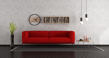 Minimalist living room with red sofa and dark wooden floor - 3d rendering Standard-Bild