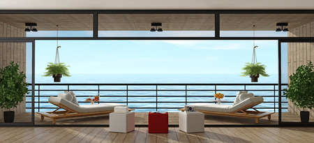 Holiday villa with two chais lounges on wooden veranda - 3d rendering Standard-Bild