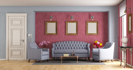 Classic living room with sofa,armchairs and closed door - 3d rendering