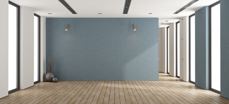 Quarto minimalista vazio com parede azul, porta de vidro e janelas - rendição 3d Foto de archivo - 93249941