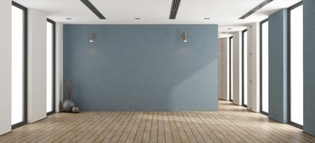 Svuoti la stanza minimalista con la parete blu, la porta di vetro e le finestre - la rappresentazione 3d