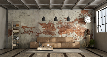 Living room in industrial style with leather sofa and brick wall - 3d rendering Standard-Bild