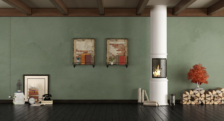 Retro living room with wood stove and retro objects - 3d rendering Standard-Bild