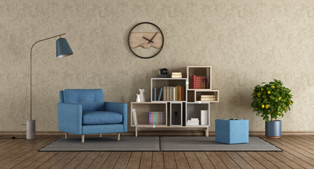 Blue armchair in modern lounge with little bookcase - 3d rendering