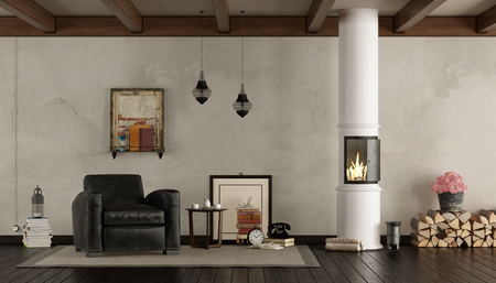 Retro living room with wood stove and black classic armchair - 3d rendering