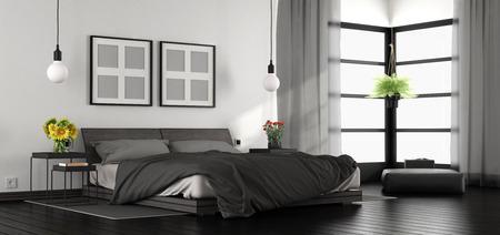Black and white modern master bedroom - 3d rendering Standard-Bild