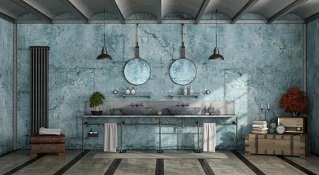 Blue retro bathroom with double washbasins - 3d rendering Standard-Bild