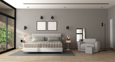 Contemporary master bedroom with bed and armchair - 3d rendering