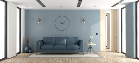 Blue modern living room with sofa and windows - 3d rendering