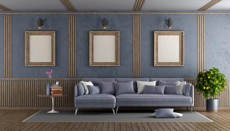 Elegant purple living room with sofa and decorative wooden panel - 3d rendering Standard-Bild