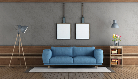 Elegant living room with blue sofa and wooden boiserie - 3d rendering