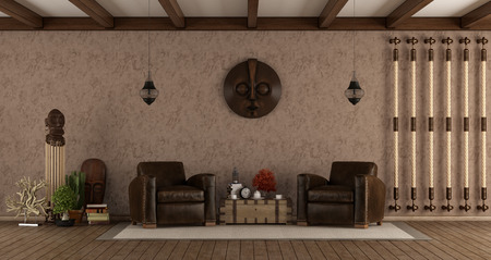 Living room in ethnic style with leather armchairs and decor objects - 3d rendering