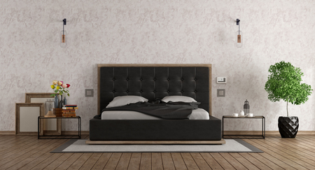 Black and white master bedroom with leather bed - 3d rendering