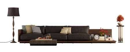 Wooden sofa with leather cushions,floor lamp and pedestal isolated on white background - 3d rendering