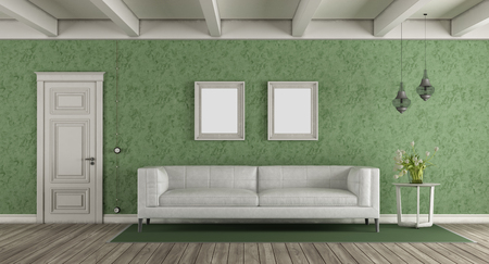 White and green classic living room with leather sofa and closed door - 3d rendering