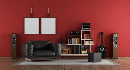 Red music room with black armchair - 3d rendering Standard-Bild
