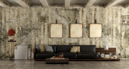 Grunge room with old wall and wooden sofa with leather cushions - 3d rendering