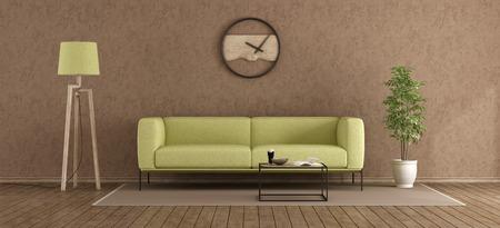 Green and brown modern living room withstucco wall - 3d rendering Standard-Bild