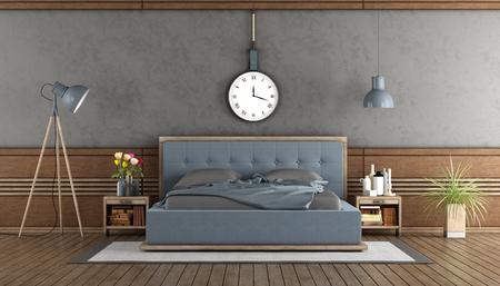 Elegant master bedroom with blue bedroom and wooden boiserie - 3d rendering