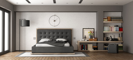 Modern master bedroom with leather bed and bookcase - 3d rendering Standard-Bild