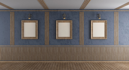 Empty purple room with blank frame and decorative wooden panel - 3d rendering Standard-Bild