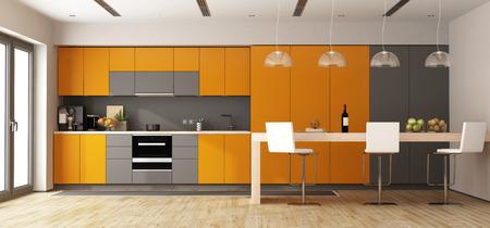 Orange and gray modern kitchen with wooden island - 3d rendering Standard-Bild