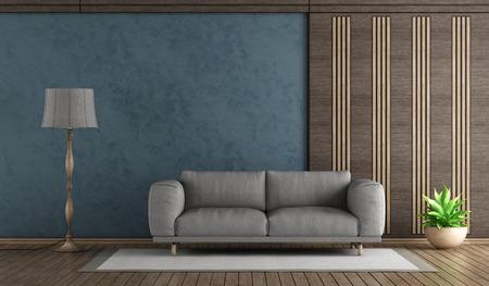 Elegant blue living room with sofa and decorative wooden panel - 3d rendering Standard-Bild