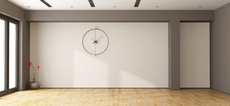 Large empty room with window and clock on white wall - 3d rendering