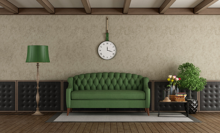 Classic living room with green sofa and upholstery boiserie - 3d rendering Standard-Bild