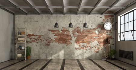 Empty living room in industrial style withdecor objects and brick wall - 3d rendering Standard-Bild