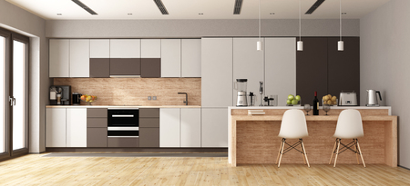 White and brown modern kitchen with wooden island - 3d rendering